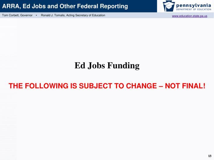 Ed Jobs Funding