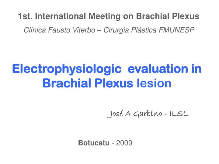 1st. International Meeting on Brachial Plexus
