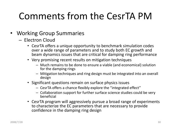 Comments from the CesrTA PM