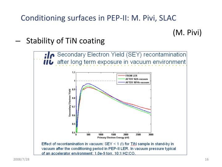 Conditioning surfaces in PEP-II: M. Pivi, SLAC