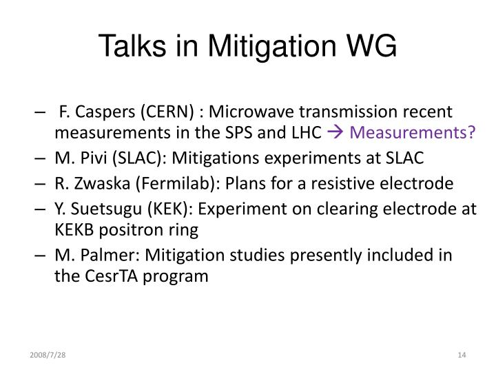 Talks in Mitigation WG