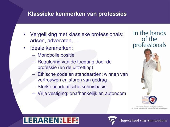 Klassieke kenmerken van professies