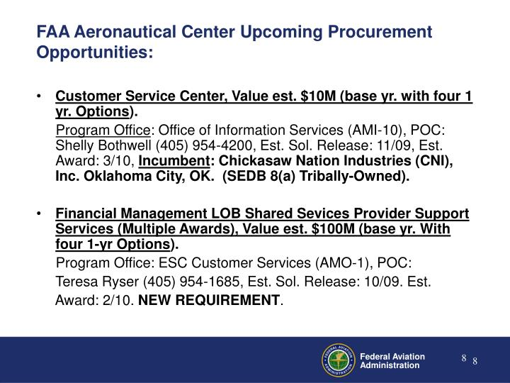 FAA Aeronautical Center Upcoming Procurement Opportunities: