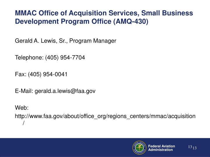 MMAC Office of Acquisition Services, Small Business Development Program Office (AMQ-430)
