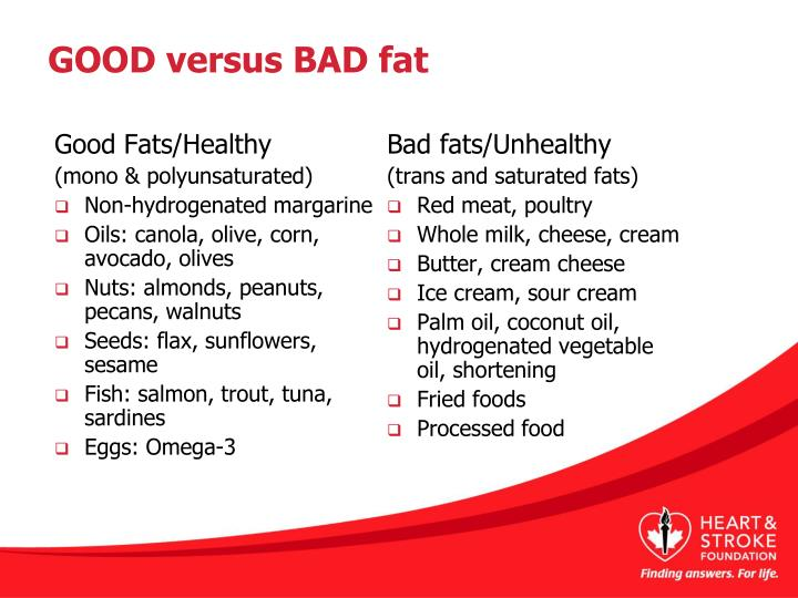 GOOD versus BAD fat