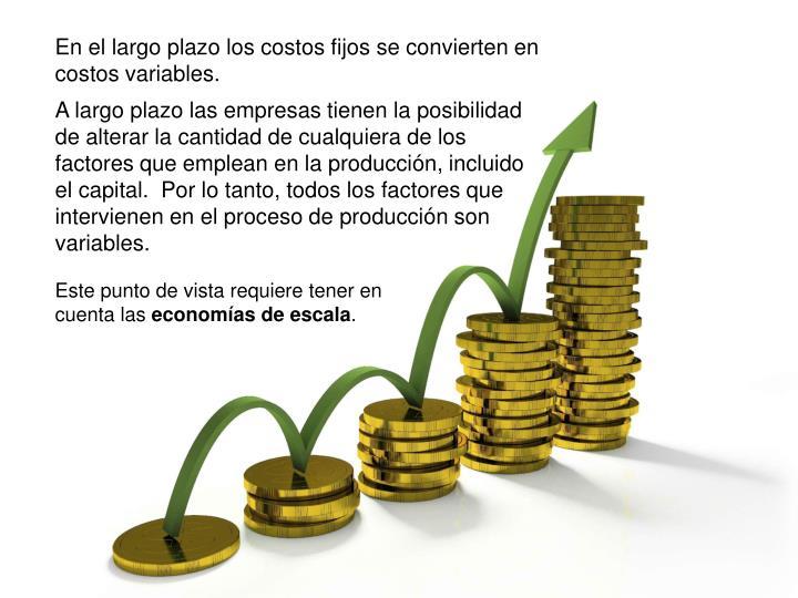 En el largo plazo los costos fijos se convierten en costos variables.