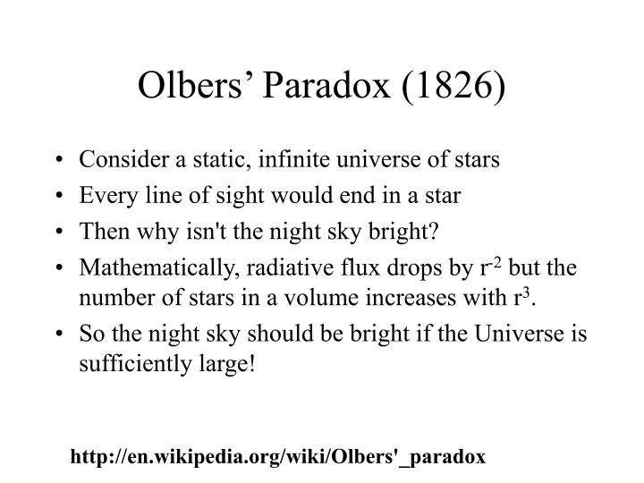 Olbers' Paradox (1826)