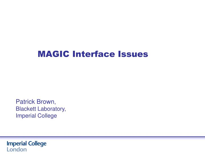 MAGIC Interface Issues