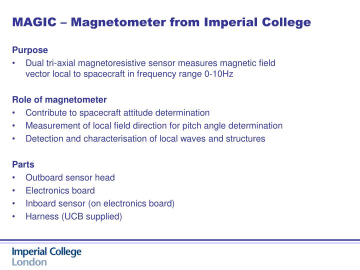 MAGIC – Magnetometer from Imperial College