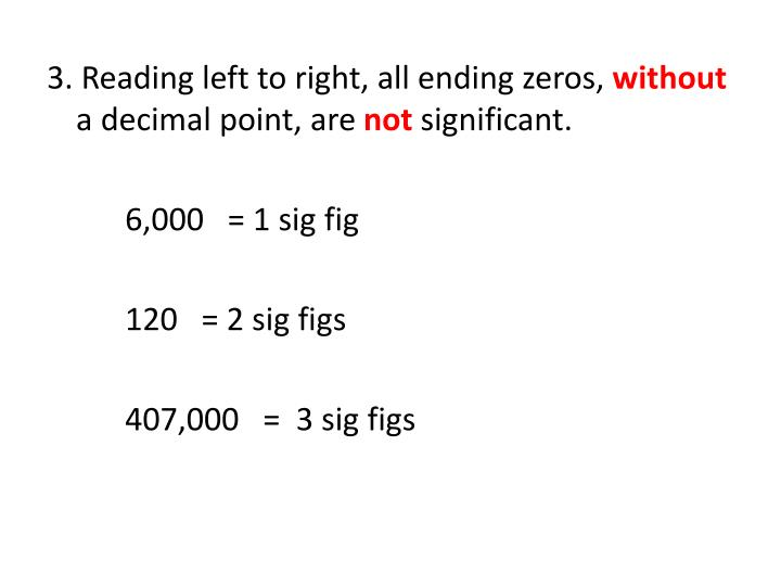 3. Reading left to right, all ending zeros,