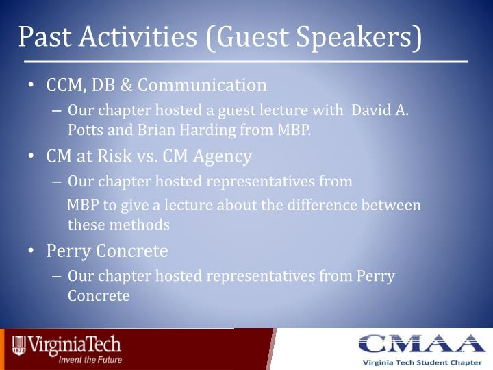 Past Activities (Guest Speakers)