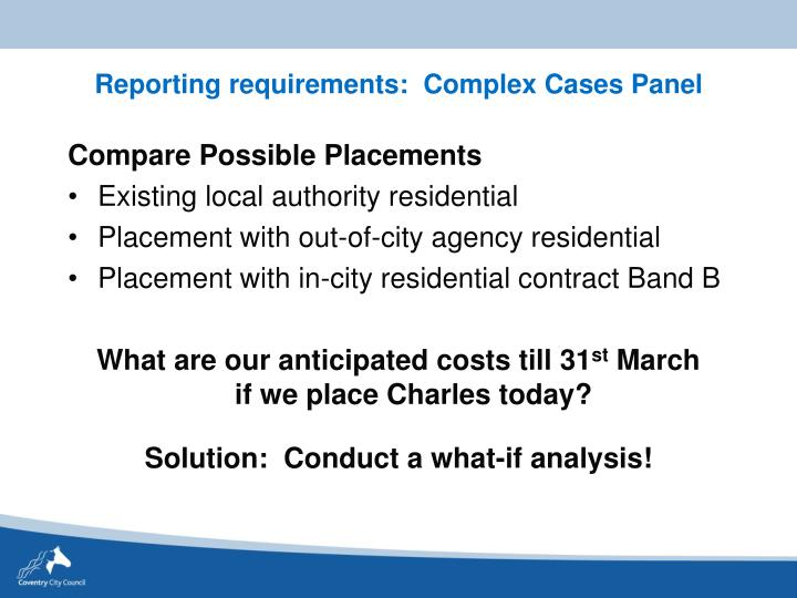 Reporting requirements:  Complex Cases Panel