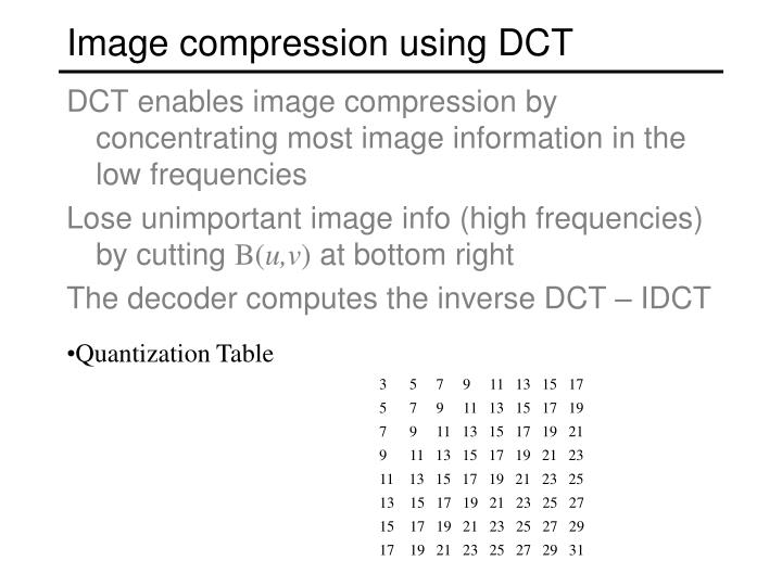 Image compression using DCT