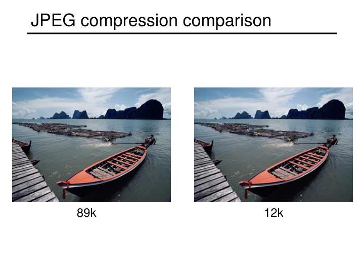 JPEG compression comparison