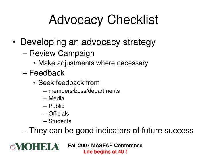 Advocacy Checklist