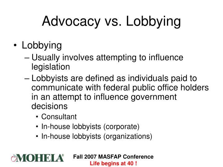 Advocacy vs. Lobbying