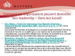 comment les organisations peuvent diversifier leur leadership sans but lucratif