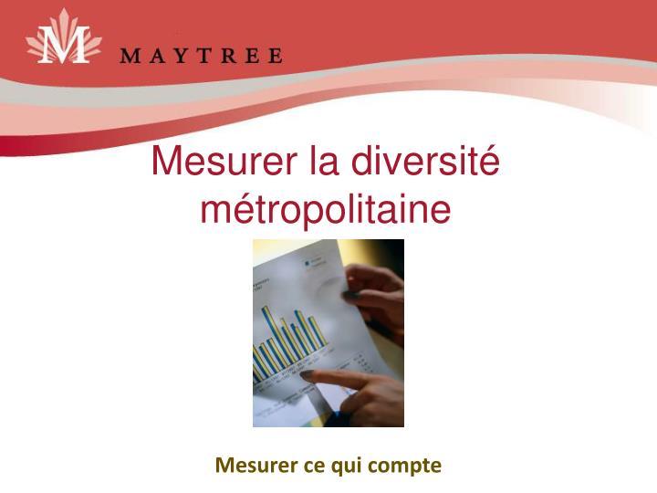 Mesurer la diversité métropolitaine
