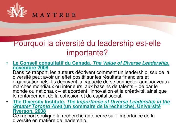 Pourquoi la diversité du leadership est-elle importante?