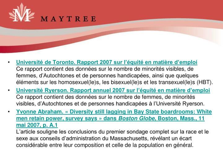 Université de Toronto. Rapport 2007 sur l'équité en matière d'emploi