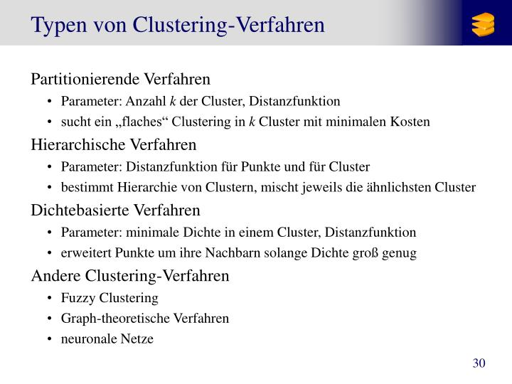 Typen von Clustering-Verfahren