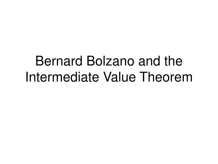 Bernard Bolzano and the