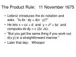 the product rule 11 november 1675