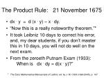 the product rule 21 november 1675