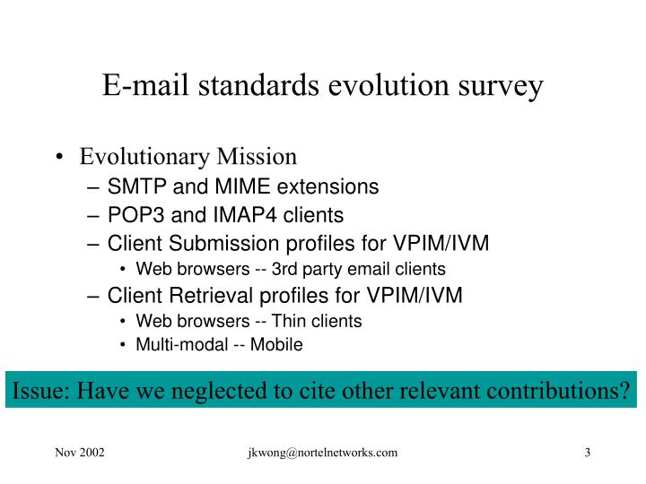 E mail standards evolution survey