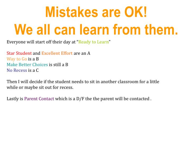 Mistakes are OK!