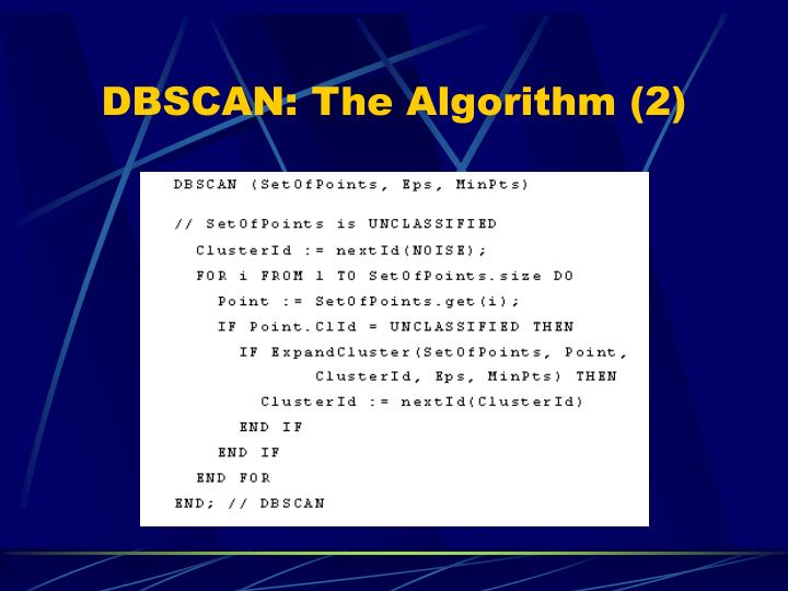 DBSCAN: The Algorithm (2)