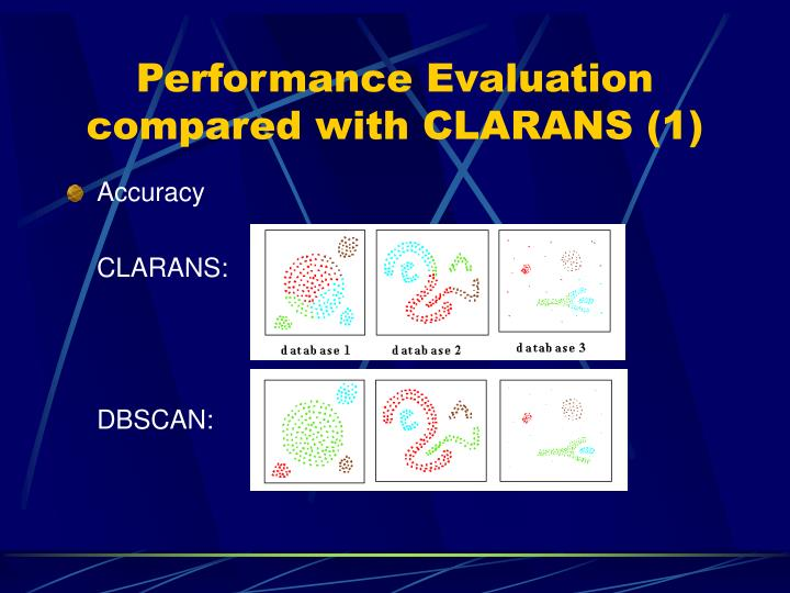 Performance Evaluation compared with CLARANS (1)