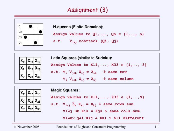 N-queens (Finite Domains):