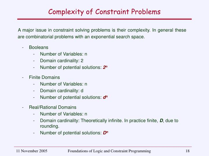 Complexity of Constraint Problems