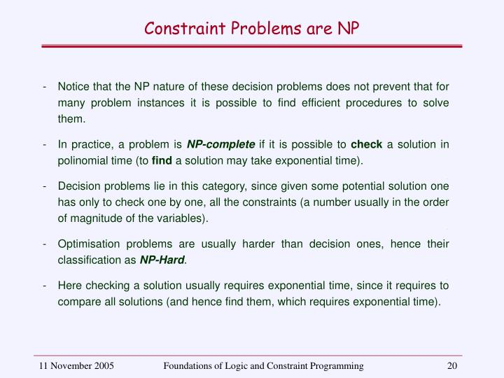 Constraint Problems are NP