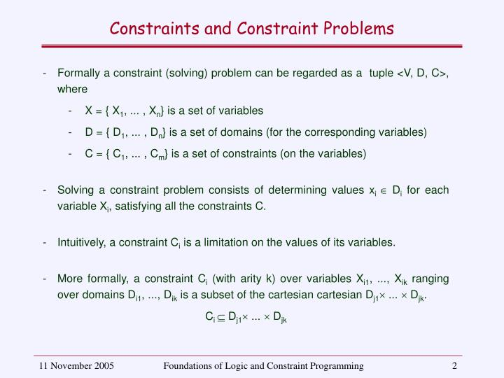 Constraints and Constraint Problems