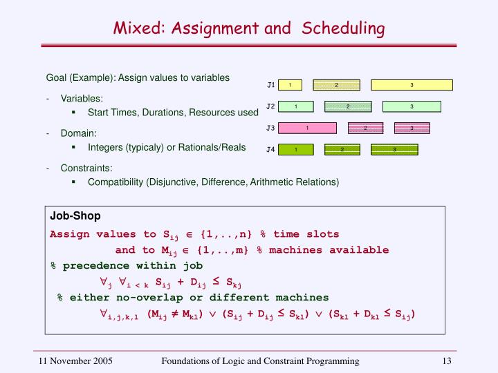 Mixed: Assignment and  Scheduling