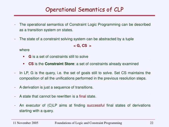 Operational Semantics of CLP