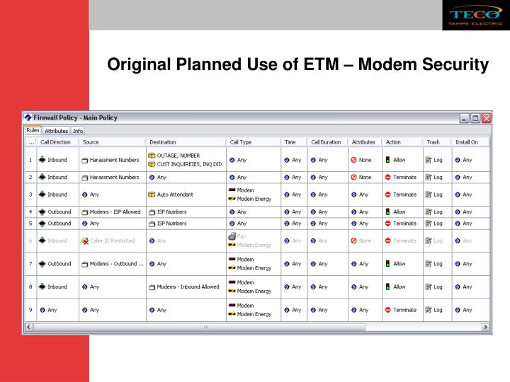 Original Planned Use of ETM – Modem Security