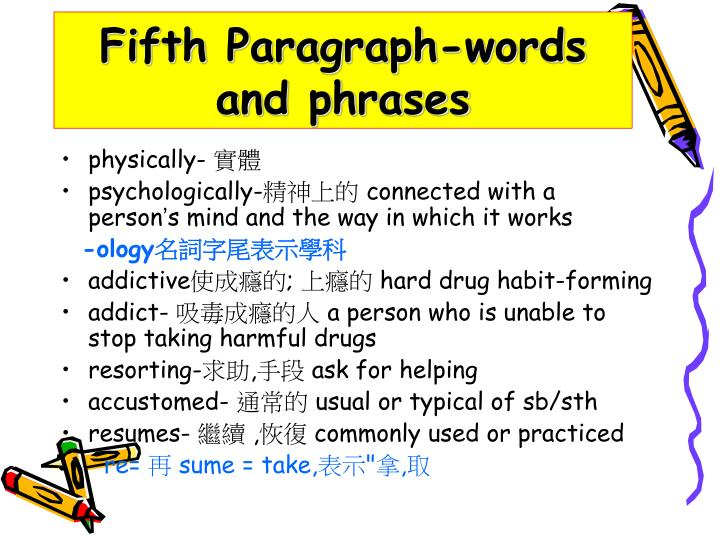 Fifth Paragraph-words and phrases