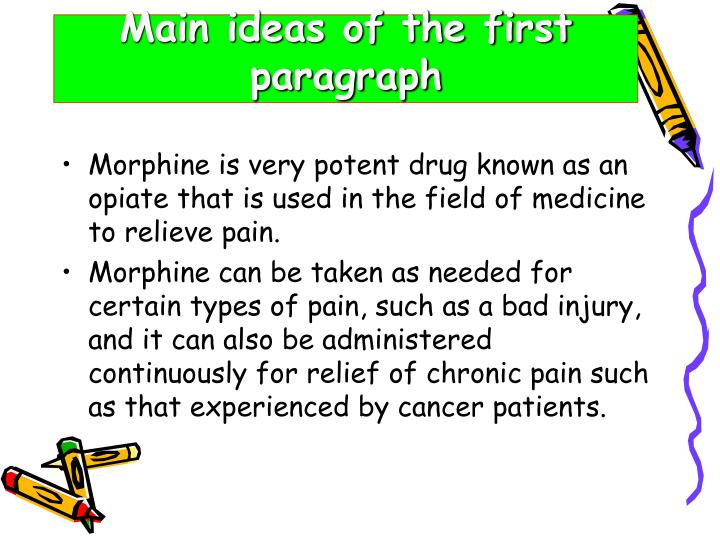 Main ideas of the first paragraph