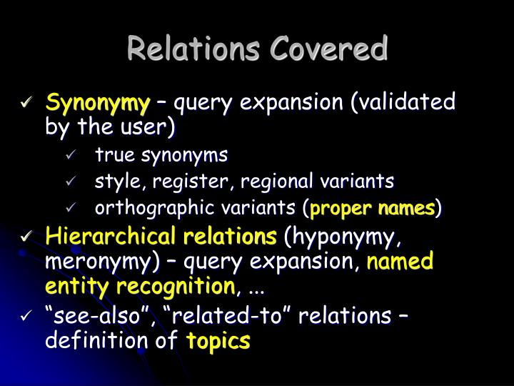 Relations Covered