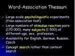 word association thesauri