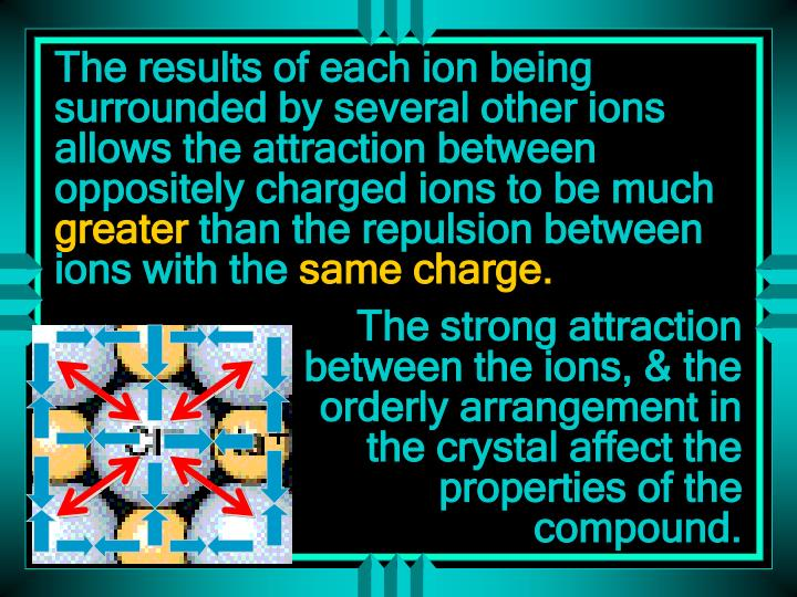 The results of each ion being surrounded by several other ions allows the attraction between oppositely charged ions to be much