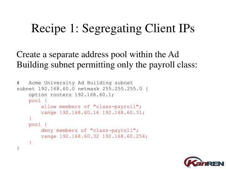 Create a separate address pool within the Ad Building subnet permitting only the payroll class: