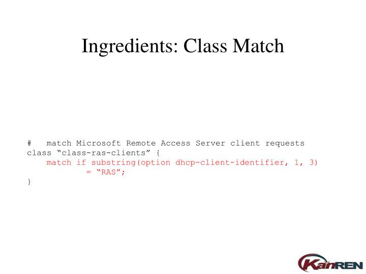 Ingredients: Class Match
