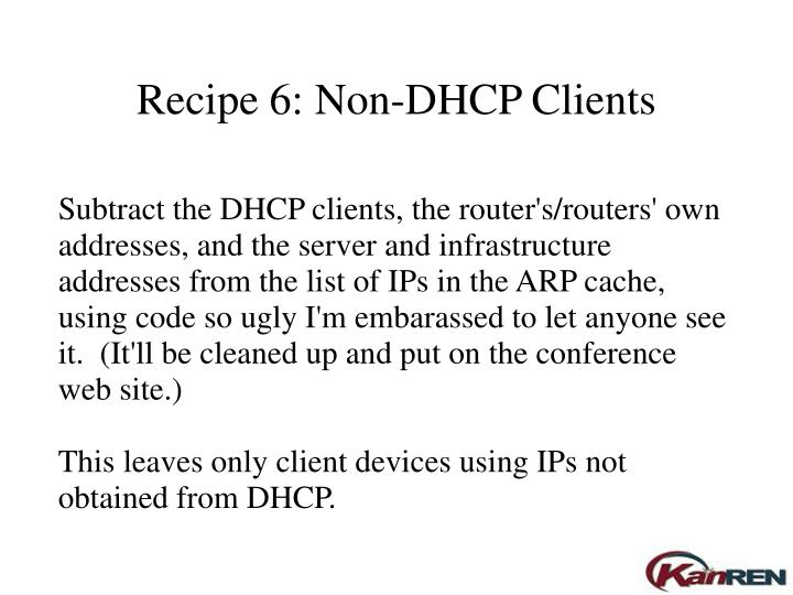 Recipe 6: Non-DHCP Clients