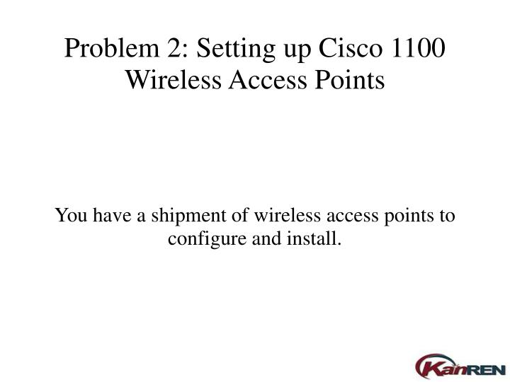 You have a shipment of wireless access points to configure and install.