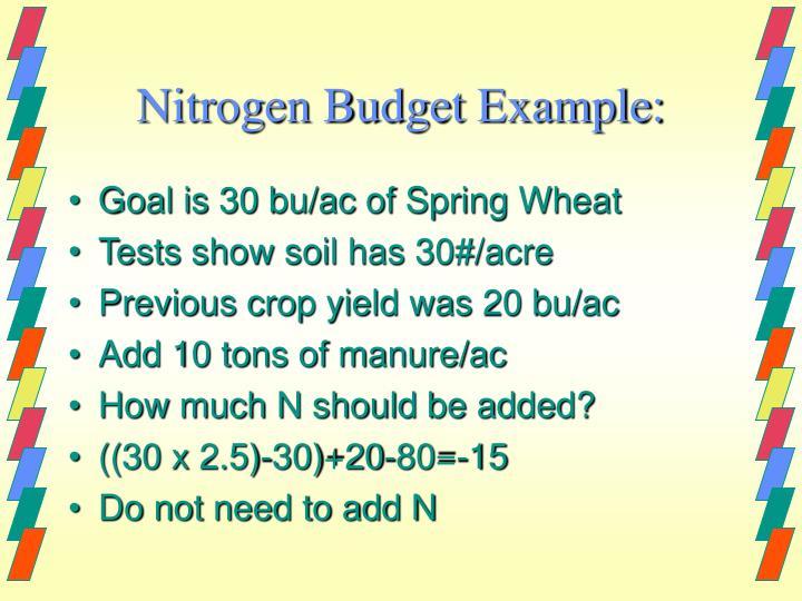 Nitrogen Budget Example: