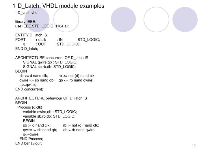 1-D_Latch: VHDL module examples